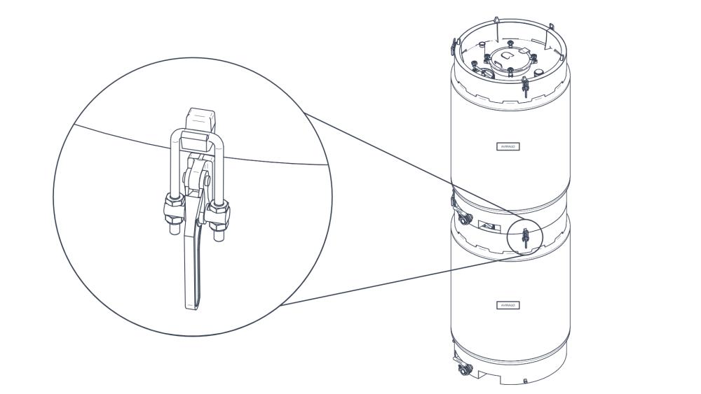 klamry zabezpieczające zbiorniki piętrowalne