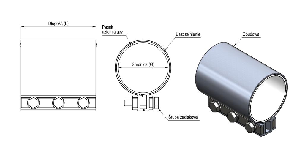 Wymiary obejmy DVK - rysunek techniczny